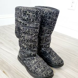 Coach Womens Jacquard Winter Boots 6B Black Grey